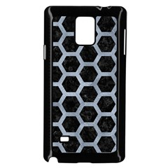 Hexagon2 Black Marble & Silver Paint (r) Samsung Galaxy Note 4 Case (black) by trendistuff