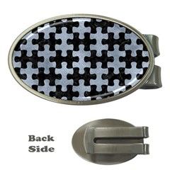 Puzzle1 Black Marble & Silver Paint Money Clips (oval)  by trendistuff