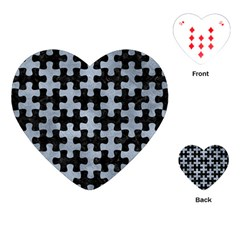 Puzzle1 Black Marble & Silver Paint Playing Cards (heart)  by trendistuff