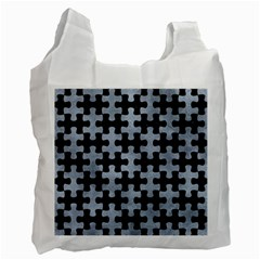 Puzzle1 Black Marble & Silver Paint Recycle Bag (two Side)  by trendistuff