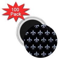 Royal1 Black Marble & Silver Paint 1 75  Magnets (100 Pack)
