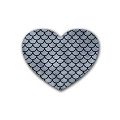 Scales1 Black Marble & Silver Paint Rubber Coaster (heart)  by trendistuff