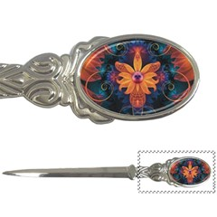 Beautiful Fiery Orange & Blue Fractal Orchid Flower Letter Openers by jayaprime