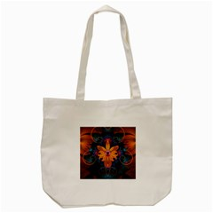 Beautiful Fiery Orange & Blue Fractal Orchid Flower Tote Bag (cream) by jayaprime