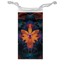Beautiful Fiery Orange & Blue Fractal Orchid Flower Jewelry Bag by jayaprime