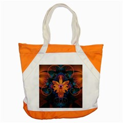 Beautiful Fiery Orange & Blue Fractal Orchid Flower Accent Tote Bag by jayaprime