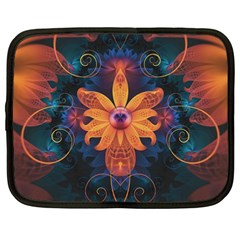 Beautiful Fiery Orange & Blue Fractal Orchid Flower Netbook Case (large) by jayaprime