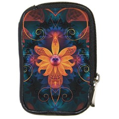 Beautiful Fiery Orange & Blue Fractal Orchid Flower Compact Camera Cases by jayaprime