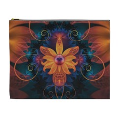 Beautiful Fiery Orange & Blue Fractal Orchid Flower Cosmetic Bag (xl) by jayaprime