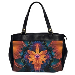 Beautiful Fiery Orange & Blue Fractal Orchid Flower Office Handbags (2 Sides)  by jayaprime