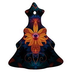 Beautiful Fiery Orange & Blue Fractal Orchid Flower Christmas Tree Ornament (two Sides) by beautifulfractals