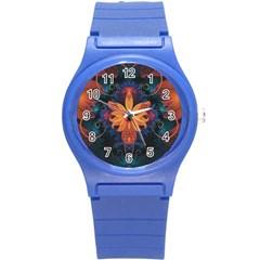 Beautiful Fiery Orange & Blue Fractal Orchid Flower Round Plastic Sport Watch (s) by jayaprime