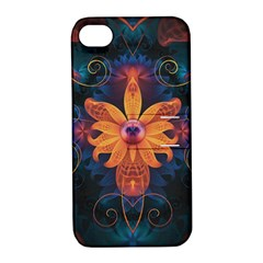 Beautiful Fiery Orange & Blue Fractal Orchid Flower Apple Iphone 4/4s Hardshell Case With Stand by jayaprime