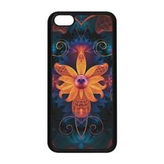 Beautiful Fiery Orange & Blue Fractal Orchid Flower Apple Iphone 5c Seamless Case (black) by beautifulfractals