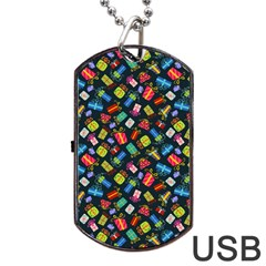 Christmas Pattern Dog Tag Usb Flash (one Side) by tarastyle