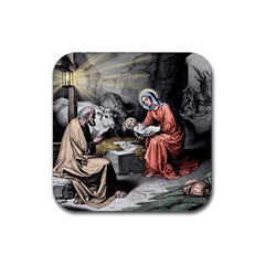 The Birth Of Christ Rubber Square Coaster (4 Pack)  by Valentinaart