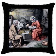 The Birth Of Christ Throw Pillow Case (black) by Valentinaart