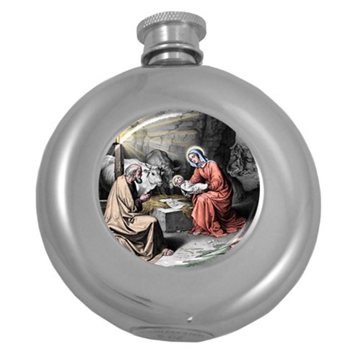 The birth of Christ Round Hip Flask (5 oz)