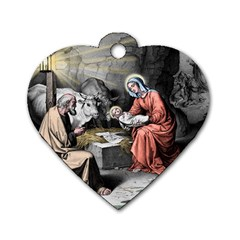 The Birth Of Christ Dog Tag Heart (one Side) by Valentinaart