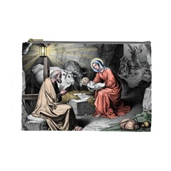 The Birth Of Christ Cosmetic Bag (large)  by Valentinaart