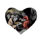 The birth of Christ Standard 16  Premium Flano Heart Shape Cushions Back