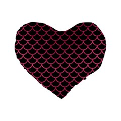 Scales1 Black Marble & Pink Denim (r) Standard 16  Premium Flano Heart Shape Cushions by trendistuff