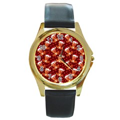 Christmas Pattern Round Gold Metal Watch by tarastyle