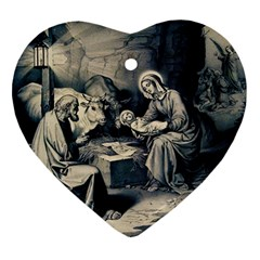 The Birth Of Christ Ornament (heart) by Valentinaart