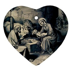 The Birth Of Christ Heart Ornament (two Sides) by Valentinaart