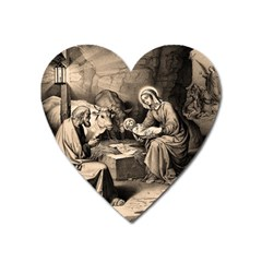 The Birth Of Christ Heart Magnet by Valentinaart