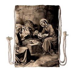 The Birth Of Christ Drawstring Bag (large) by Valentinaart