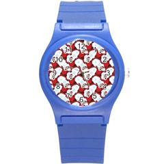 Christmas Pattern Round Plastic Sport Watch (s) by tarastyle