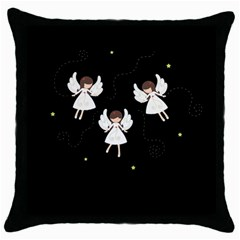 Christmas Angels  Throw Pillow Case (black) by Valentinaart