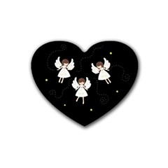 Christmas Angels  Rubber Coaster (heart)  by Valentinaart