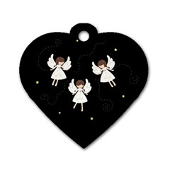 Christmas Angels  Dog Tag Heart (one Side) by Valentinaart