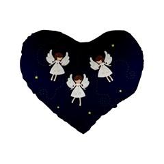 Christmas Angels  Standard 16  Premium Heart Shape Cushions by Valentinaart
