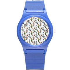 Christmas Pattern Round Plastic Sport Watch (s) by tarastyle