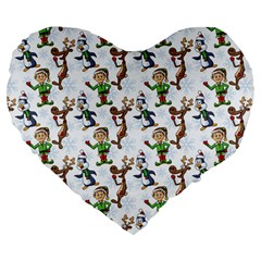 Christmas Pattern Large 19  Premium Flano Heart Shape Cushions by tarastyle
