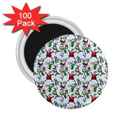 Christmas Pattern 2 25  Magnets (100 Pack)  by tarastyle