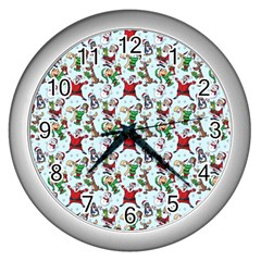Christmas Pattern Wall Clocks (silver)  by tarastyle