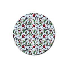 Christmas Pattern Rubber Coaster (round)  by tarastyle