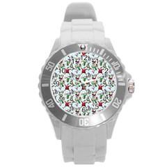 Christmas Pattern Round Plastic Sport Watch (l) by tarastyle