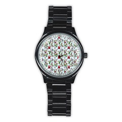 Christmas Pattern Stainless Steel Round Watch by tarastyle