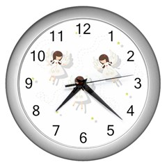 Christmas Angels  Wall Clocks (silver)  by Valentinaart
