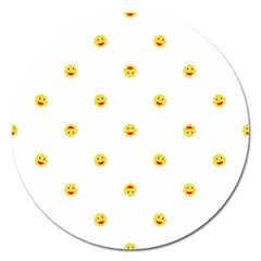 Happy Sun Motif Kids Seamless Pattern Magnet 5  (round) by dflcprintsclothing