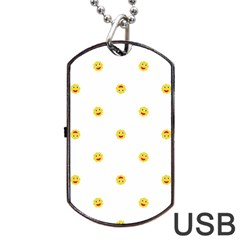 Happy Sun Motif Kids Seamless Pattern Dog Tag Usb Flash (one Side) by dflcprintsclothing