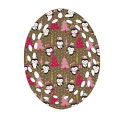 Christmas Pattern Ornament (oval Filigree) by tarastyle