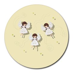 Christmas Angels  Round Mousepads by Valentinaart