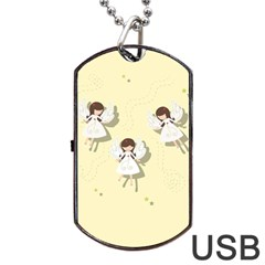 Christmas Angels  Dog Tag Usb Flash (one Side) by Valentinaart