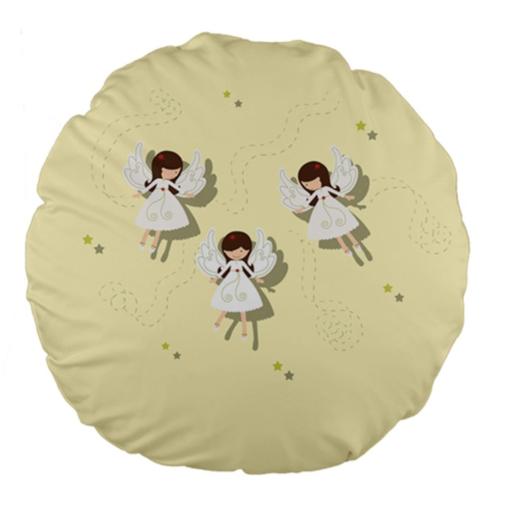 Christmas angels  Large 18  Premium Flano Round Cushions